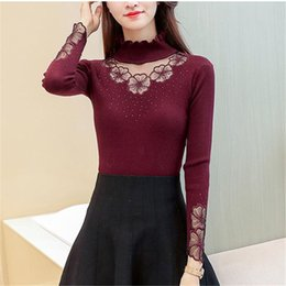 $enCountryForm.capitalKeyWord Australia - Autumn Winter Half Turtleneck Pullovers Sweaters Women Burgundy Embroidery Lace Hollow Knitted Slim-fit Sweater Female Tops