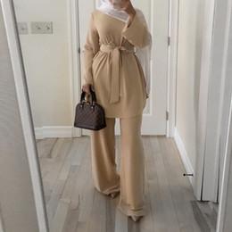 Wholesale polyester robes resale online - Caftan Marocain Dubai Abaya Turkish Set Muslim Hijab Dress Moroccan Kaftan Robe Islam Elbise Islamic Clothing For women Ropa