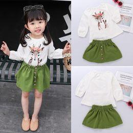 $enCountryForm.capitalKeyWord Australia - Ins Autumn Girls T-shirt + Skirts 2 Piece Sets Toddler Kids Baby Girl clothes kids designer clothes Xmas Deer long Sleeve T-shirt DHL JY137
