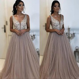 2019 Prom Evening Dresses Beads Sequins Top A Line Plunging Neck Tulle Long  Vestidos Women Occasion Party Gowns 037c6cbad