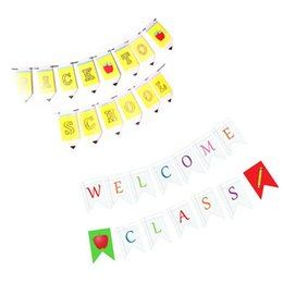 Discount classroom decor - Back To School Paper Banner Set Welcome Class Garland Letter Dovetail Flag Pencil Shape Banner Classroom Decor Party Dec