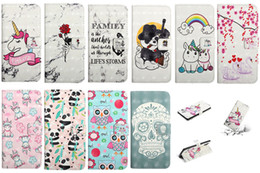 iphone 3d skull case NZ - 3D Skull Leather Wallet Case For Samsung Note 10 Note10 Pro A10E A20E Rose Unicorn Panda Swan Rainbow Heart Love Marble Holder Flip Cover