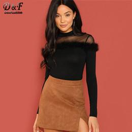 $enCountryForm.capitalKeyWord NZ - Dotfashion Black Long Sleeve Tee Shirt Women 2018 Mesh Yoke Faux Fur Detail Fitted Tops Elegant Autumn Clothing Slim Fit T-Shirt