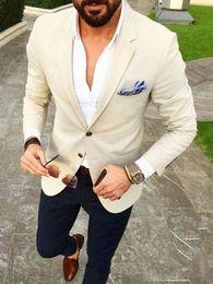 Suit Navy Blue Gold Australia - Latest Coat Pant Designs Casual Beige Men Blazer tuxedos Navy Blue Pants Spring Summer Wedding Party Prom Street Suit 2PCS terno