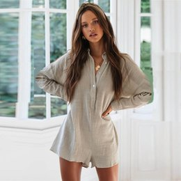 $enCountryForm.capitalKeyWord Australia - yinlinhe Loose Summer Playsuit Overalls For Women Long Sleeve Casual Button Shirt Rompers Boho Beach Short Jumpsuit outfits 970