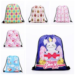 Funny backpacks online shopping - Easter Rabbit Drawstring Backpack Funny Rabbit Egg Print Gym Bag Daypack Easter Day Cartoon Storage Bags OOA6372