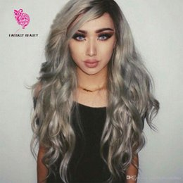 ombre full lace wigs Australia - 8A Ombre Silver Grey Hair Full Lace Wigs Virgin Brazilian Human Hair T1B Gray Rooted Human Hair Lace Front Wig Body Wave