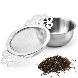 Großhandel Edelstahl Teesieb Teefilter mit Bottom Cup Doppel Griff Bulk-Spice Filter Reusable Teesieb Teekanne Zubehör