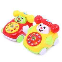 Cartoon Telephones Australia - Simulation Telephone Toys Music Cartoon Phone Smiling Kawaii Plastic Kids Gift Originality fashion 1 48qj F1
