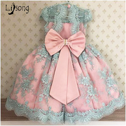 White red boW dress for baby online shopping - Princess Pearls Appliques Pink Blue Flower Girl Dress with Bow Sashes Knee Length O neck Custom Made Ball Gowns for Little Baby