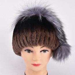 $enCountryForm.capitalKeyWord Australia - Rabbit hair blend crochet hats winter With large size sliver fox fur pompom ball lady winter adults hats