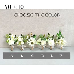 $enCountryForm.capitalKeyWord Australia - ridesmaid hand YO CHO White Orchid Artificial Rose Wrist Corsage Bracelet Silk Flower Bridesmaid Hand Flowers Diasy Wedding Party Decorat...