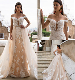 MerMaid wedding dresses detachable trains online shopping - 2019 Milla Nova Champagne Mermaid Wedding Dresses With Detachable Train Lace Appliqued Illusion Off The Shoulder Bridal Gown robe de mariée