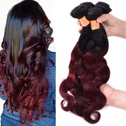 brazilian human hair for weaving Australia - Brazilian Hair Bundles with Closure Body Wave Ombre Color 1B 99j 3 Bundles with 4*4 Lace Closure Human Hair for Black Women