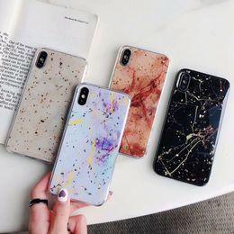 $enCountryForm.capitalKeyWord Australia - Marble Foil Case For Iphone XS MAX X 10 8 7 6 Plus Luxury Bling Sparkle Sequin Foil Soft TPU Stone Rock Glitter Shell Confetti Flake Cover