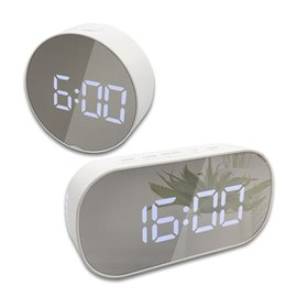Discount make electronics Make Up Mirror Alarm Clock Digital Snooze Table Clock Wake Up Light Electronic Large Time Temperature Display Home LED