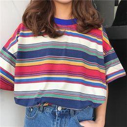 Wholesale rainbow shirts online – design Womens Tops Woman Shirt Womens T Shirts Tunic Japan Harajuku Ulzzang Fresh Color Striped Rainbow T Shirt Female Korean Kawaii For Women