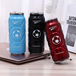 can bottle NZ - 12oz Football Cola Can Water Bottle Stainless Steel Water Cup Outdoor Vacuum Insulated Mug Coke Tumbler Car Coffee Cup With Lid DBC VT1714