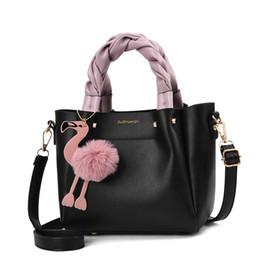 Flamingo handbags online shopping - Handbag For Women Shoulder Bag Pu Leather Fashion Flamingo Hairball Tote Messenger Bag Designer Bolsa Feminina