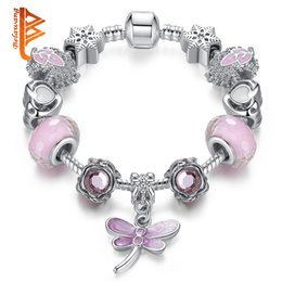 Bracelets Made Glass Beads Australia - BELAWANG Popular Silver Plated Dragonfly Pendant Charm Bracelets&Bangles With Pink Murano Glass Beads Snake Chain Jewelry Making Wholesale