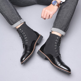 mens lace up shorts 2019 - 38-48 Mens Ankle Boots Leather Short Plush Winter Shoes Men Casual Business Snow Boots Men Waterproof Autumn Trend Cowbo