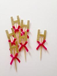 $enCountryForm.capitalKeyWord Australia - Custom letter initials glitter birthday cupcake Toppers baby bridal shower wedding birthday toothpicks decorations Party Supplies Event