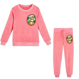 16a8678e2 Girls Christmas Outfits Boys Clothing Set Brand Baby Girls Winter Clothes  Kids Tracksuit Velour Fleece Fox Children Sets 2Colors