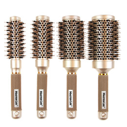$enCountryForm.capitalKeyWord Australia - Salon professional ceramic hair curling comb nylon gold handle hairdressing round hair brushes styling tools