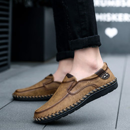 Casual Handmade Leather Shoes Australia - Men Casual Driving Shoes 2019 Leather Loafers Shoes Men Fashion Handmade Soft Breathable Moccasins Flats Slip on Footwear Male