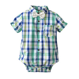 Summer Clothes Uk Australia - Baby Boy clothing summer 100% cotton romper Turn Down Collar gentleman UK style short sleeve Boy romper Baby cuasual formal clothing