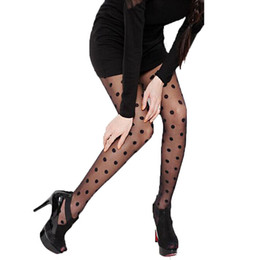 Wholesale tight laced resale online - 2019 Women fashion Sheer Lace Big Dot Pantyhose Stockings black White Tights C6032