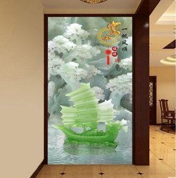 $enCountryForm.capitalKeyWord Australia - WDBH 3d wallpaper custom photo Chinese jade carving sailboat porch home decor living room 3d wall muals wall paper for walls 3 d