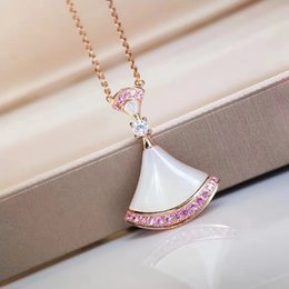 necklaces pendants UK - S925 silver luxurious quality nature shell with fan shape pendant necklace and sparkly pink diamond for women weddding jewelry gift PS5069