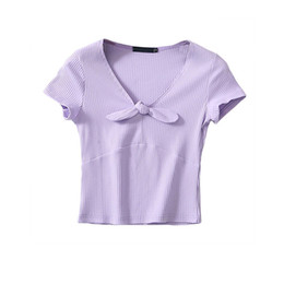 Women Elegant Tees Australia - Women ladies Short Sleeve Crop top elegant Plain basic T-shirt femme Women bodycon bandage stretch Vest Tee femme