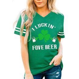 Green T Shirt NZ - ST. Patrick's Day Green Tops T-Shirt women's summer clothing 2019 V-Neck Short Sleeve Women T-shirts Casual Tee Tops tumblr