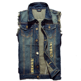 China 2019 Ripped Jean Jacket Men's Denim Vest Hip Hop Jean Coats Waistcoat Men Cowboy Brand Sleeveless Jacket Male Tank Plus Size 6XL cheap men s sleeveless jackets suppliers