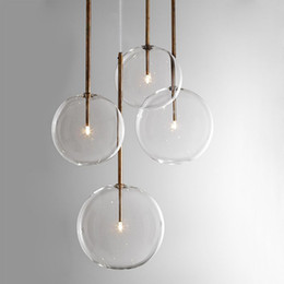 Discount modern glass bottle pendant lights Clear Simple Creative Glass Lights Bar Coffee Shop Simple Chandelier Iron Droplight Experimental Bottle Lampr Frosted Glass
