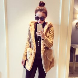 Women Winter Parka Australia - Parka Casual Outwear Hooded Coat Winter Knitted patchwork plush thickened with hat coat Overcoat For Woman
