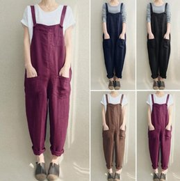 c6f3497d85fcc Fashion Women Girls Loose Solid Jumpsuit Strap Dungaree Harem Trousers  Ladies Overall Pants Casual Playsuits Plus Size 5XL