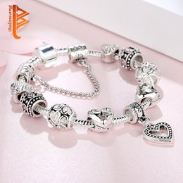 $enCountryForm.capitalKeyWord Australia - USpecial Free Shipping Silver Plated Snake Chain Charm Bracelets Love Heart Shape Pendant Cubic Zirconia Star Beads Bracelet&Bangles 18-20cm