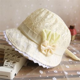 cute baby bucket hat NZ - 2019 Solid Color Lace Hollow Baby Girl With Bow Toddler Kids Beach Bucket Hats Cap Summer Cute Princess Baby Hat Fit For 3- 18 Months