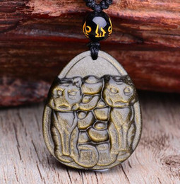 $enCountryForm.capitalKeyWord Australia - Beautiful Natural Gold Obsidian Carved Handmade Chinese Wealth Lucky Cat Amulet Pendant + Black Beads Fashion Jewelry Necklace