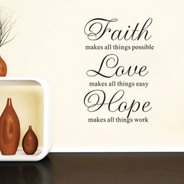 Discount kids room wall art quotes - Faith, Hope, Love Vinyl Wall Art Inspirational Quotes Decal Sticker