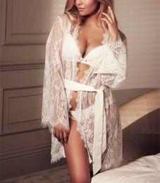 $enCountryForm.capitalKeyWord NZ - Hollow Out Lace Short Mini Bathrobe Sexy Women White Black Belt Night Robe Long Sleeve Lace Nightgown