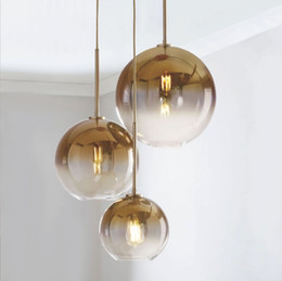 $enCountryForm.capitalKeyWord NZ - Modern gradient color glass ball pendant lights led E27 parlor bedroom hotel bar decor Hang lamp Silver Gold