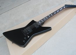Fingerboard Rosewood Inlay Australia - Black Electric Guitar with EMG Pickups,Fixed Bridge,Werewolf Inlay,Rosewood Fingerboard,offering customized services