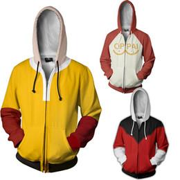 Wholesale anime womens hoodies for sale - Group buy Mens Womens Anime One Punch Man Saitama Costumes Oppai Saitama Hoodie Sweatshirt Male Hoodies Zipper Jackets Long Sleeves Tops