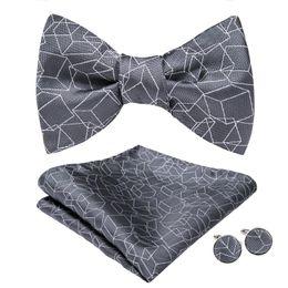 Knitted Bowties UK - Hi-Tie Fashion Bowties Men Grey Geometric Male Marriage Butterfly Wedding Bow Ties With Handkerchief Cufflinks Freeing Shipping AL-068