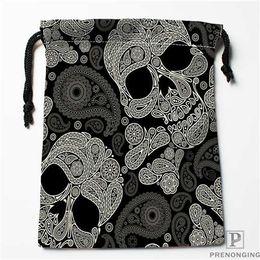 $enCountryForm.capitalKeyWord Australia - Custom Printing Black Skull (1) Drawstring Shopping Bags Travel Storage Pouch Swim Hiking Toy Bag Unisex Multi Size18-12-31-14