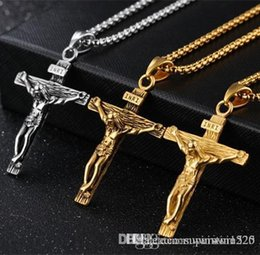 necklaces pendants Australia - Crucifix Cross Pendant Necklace Bracelet Gold Black Gun Plated  Stainless Steel Fashion Religious Jewelry for Women Men Faith Necklace